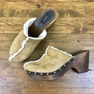 Dolce & Gabbana Shearling Clogs Leather Mules 40.5